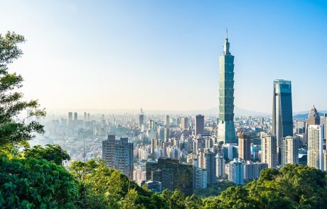 Beautiful landscape and cityscape of taipei 101 building and arc